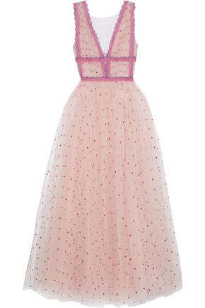 COSTARELLOS Lace-trimmed gathered embroidered tulle gown