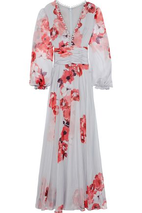 COSTARELLOS Ruched button-embellished floral-print chiffon gown