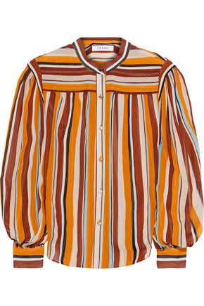 FRAME Striped silk-georgette blouse