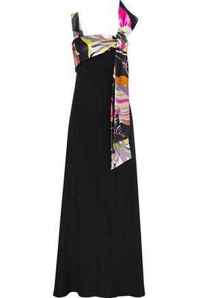EMILIO PUCCI Printed satin-paneled silk crepe de chine gown