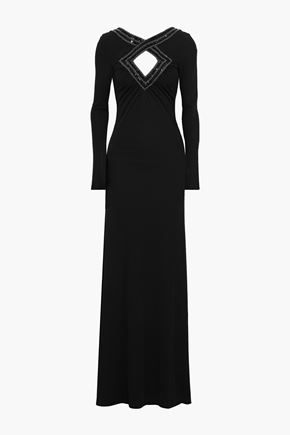 EMILIO PUCCI Cutout embellished stretch-jersey gown