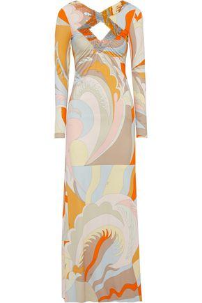EMILIO PUCCI Cutout embellished printed stretch-jersey maxi dress