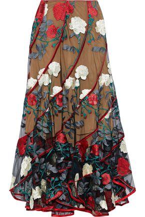 COSTARELLOS Satin-trimmed embroidered tulle midi skirt