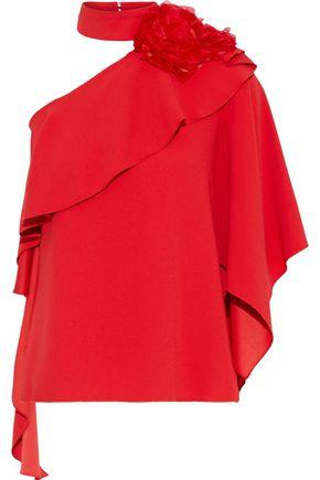 COSTARELLOS One-shoulder floral-appliquéd ruffled crepe blouse
