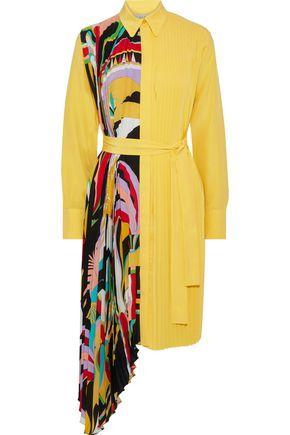 EMILIO PUCCI فستان على شكل قميص من قماش كريب دي شين الحريري المطبع برسومات مع طيات