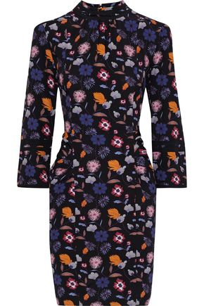 BA&SH Maha pleated printed stretch-crepe mini dress