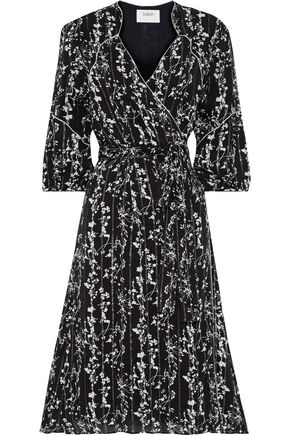 BA&SH Folia metallic floral-print georgette wrap dress