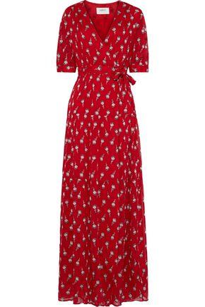 BA&SH Madona fil coupé silk-blend gauze maxi wrap dress
