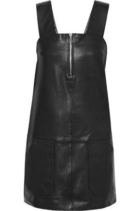BA&SH Ludivine zip-detailed textured-leather mini dress