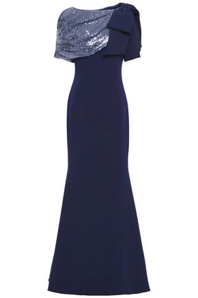 BADGLEY MISCHKA Draped bow-embellished sequined crepe gown