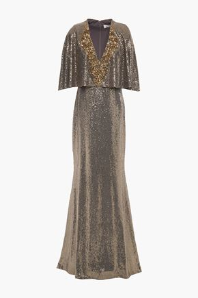 BADGLEY MISCHKA Cape-effect embellished gown