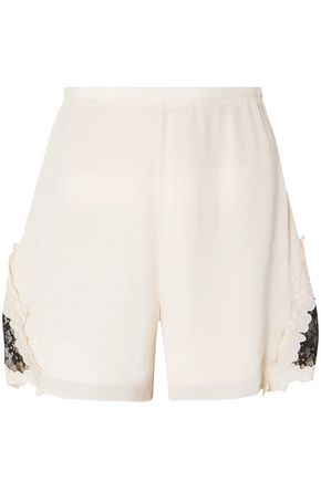 SEE BY CHLOÉ Guipure lace-trimmed crepe de chine shorts