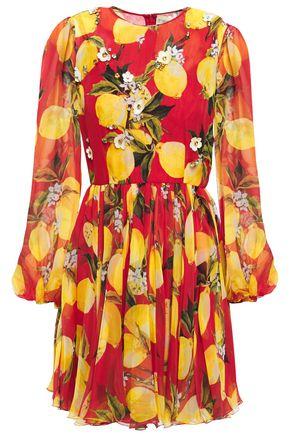 DOLCE & GABBANA Embellished gathered printed silk-chiffon mini dress