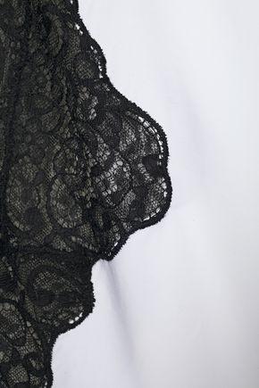 CHRISTOPHER KANE Lace-paneled gathered cotton-poplin blouse