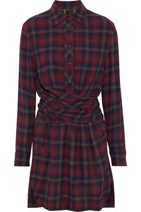 RAG & BONE Felicity wrap-effect checked twill mini shirt dress