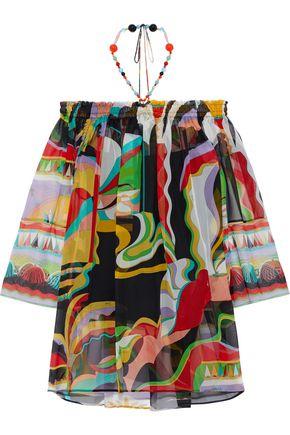 EMILIO PUCCI Off-the-shoulder bead-embellished printed silk-chiffon halterneck top