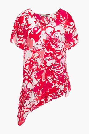 ROBERTO CAVALLI Asymmetric floral-print silk crepe de chine top