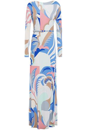 EMILIO PUCCI Belted printed jersey maxi dress