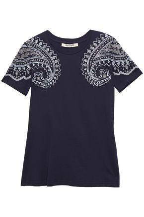 ROBERTO CAVALLI Crystal-embellished cotton-jersey T-shirt