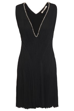 ROBERTO CAVALLI Crystal-embellished plissé crepe mini dress