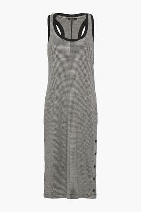 RAG & BONE Button-detailed houndstooth cotton-blend jersey dress