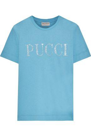 EMILIO PUCCI Crystal-embellished slub cotton-jersey T-shirt