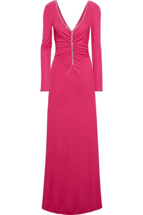 EMILIO PUCCI Crystal-embellished ruched jersey maxi dress