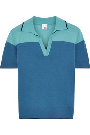 IRIS & INK Maple two-tone merino wool polo shirt