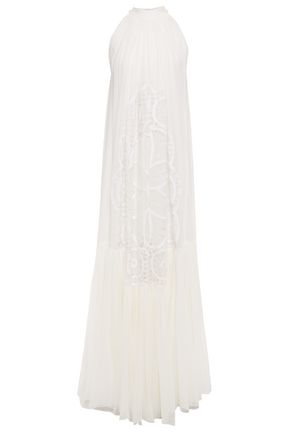 COSTARELLOS Gathered crochet-trimmed silk-georgette gown