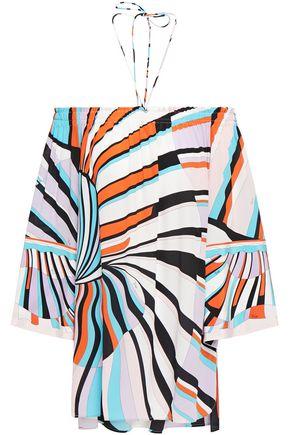 EMILIO PUCCI Off-the-shoulder printed silk crepe de chine top