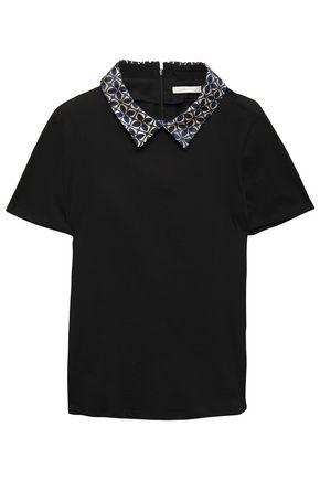 MAJE Jacquard-trimmed cotton-jersey top