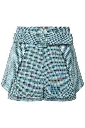 MAJE Belted layered cotton tweed shorts