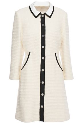 MAJE Renalo grosgrain-trimmed cotton-tweed mini dress