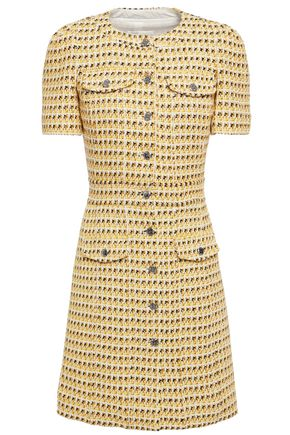MAJE Metallic cotton-blend tweed mini dress