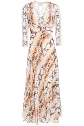 MAJE فستان متوسط الطول وبتصميم متشابك من نسيج محبوك ومزيّن بنقوش جلد الثعبان