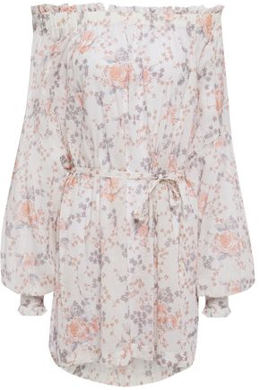 MAJE Off-the-shoulder floral-print cotton-gauze mini dress