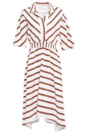 MAJE Asymmetric smocked printed twill dress