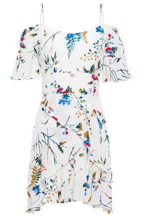 MAJE فستان قصير مفتوح الكتفين من الكريب المطبع برسومات