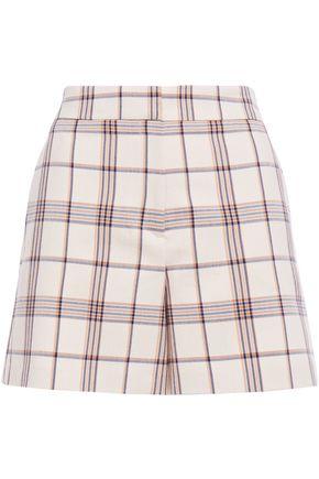 MAJE Izore checked twill shorts