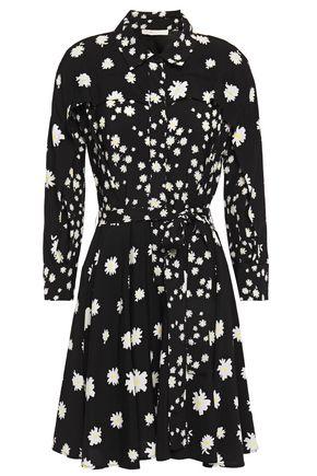 MAJE Floral-print crepe mini shirt dress