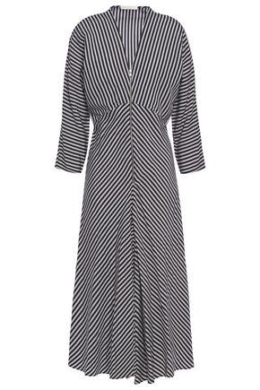 MAJE Rava striped twill midi dress