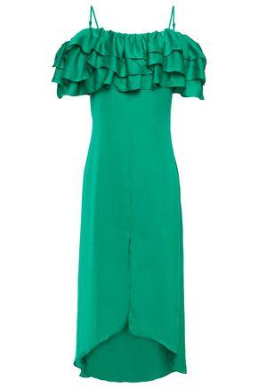 MAJE فستان متوسط الطول مفتوح الكتفين ومصنوع من طبقات من الساتان مع كشكش