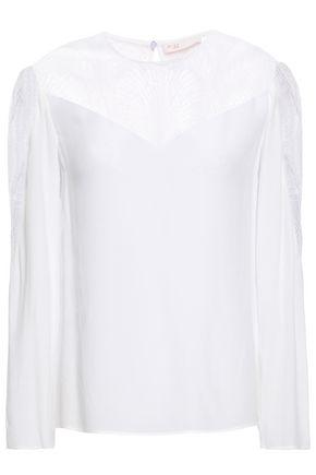 MAJE Crochet-paneled crepe blouse