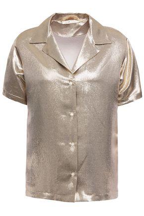MAJE Metallic silk-blend shirt