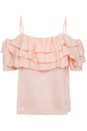 MAJE Lovant cold-shoulder ruffled satin top