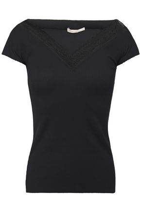 MAJE Lace-trimmed ribbed jersey top