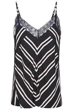 MAJE Lace-trimmed striped twill camisole