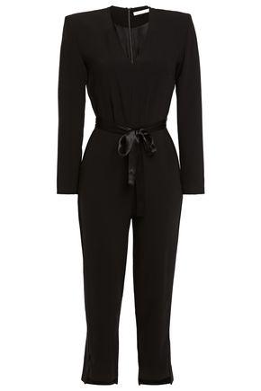 MAJE Satin-trimmed stretch-crepe jumpsuit