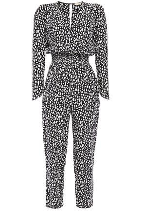 MAJE Wrap-effect shirred leopard-print crepe jumpsuit