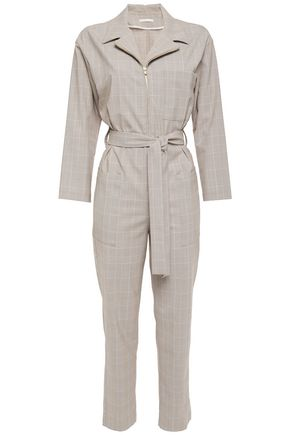 MAJE Belted Prince of Wales checked jacquard jumpsuit